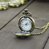 Wholesale 12pcs/lot Retro Vintage Bronze Quartz Necklace Pendant Chain Clock Pocket Watch Chrysanthemum Sunflowers Hollow 18964
