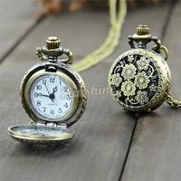 Retro Vintage Bronze Steampunk Quartz Necklace Pendant Chain Clock Pocket Watch Chrysanthemum Sunflowers Hollow 18964