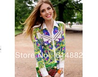 2014 Print Tops Women Spring and Autumn Fashion Print Blouses Vintage Chiffon Blouse Off Shoulder  Wholesale CL259