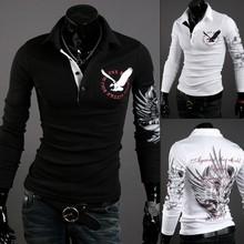 2014 Fashion New Long Sleeve Shirts Men,Brand Quality Spring&Summer Casual Shirts,Three Color Eagle Plated Drop&Free Shipping(China (Mainland))