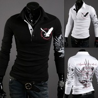 2014 Fashion New Long Sleeve Shirts Men,Brand Quality Spring&Summer Casual Shirts,Three Color Eagle Plated Drop&Free Shipping