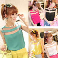 2014 New Arrival Summer New Hot Sweet Ladies Women Vogue Chiffon Slim Tee Shirt Tank Tops 5 Color 3 Sizes