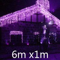 Free Fedex/DHL/UPS 6m *1m Led icicle string light  Led curtain Christmas/Xmas lights for pavilion eave wedding decoration