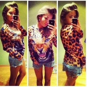 2014 hot Women/Men tiger print leopard skin Hoodies animal element sweat 3D sweatshirt casual tops Pullovers wholesale(China (Mainland))