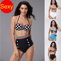 High waist swimsuit   push up bikinis set  Leopard  vintage cheap swimwears women Retro bathing suit biquini maillot de bain