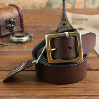 100% Cowhide Leather 2014 Men Vintage Belt Fashion Real Brass Buckle Men Brand Belts Jeans Male Strap Cinto Long 140CM MBT0075