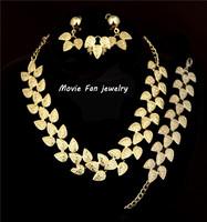 18K gold filled african leaf necklace earrings ring bracelets jewelry sets  N063