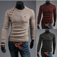 Free shipping Men retro cotton cultivation sweater V neck polo cardigan sweater for men fashion cashmere sweater