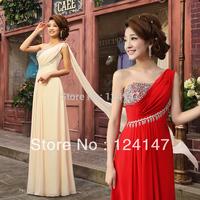 AQ Fashion long design chiffon evening dress bride red fashion double-shoulder zipper style dress