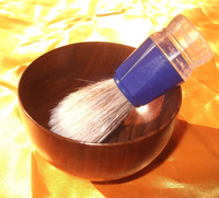 New FREE SHIPPING 1 set blue plastic shaving brush & shaving wood bowl