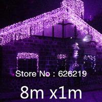 Free Fedex/DHL/UPS 8m *1m Led icicle string light Led curtain Christmas/Xmas lights for pavilion eave wedding holiday decoration