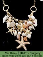 ZH0770 New Classic Designer Chain Layered Shell Starfish Pearl Choker Bib Vintage Statement Necklace jewelry For Women