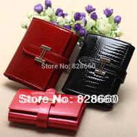 2014  New genuine leather cowhide wallets 3 folder women short design wallet