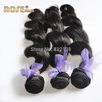 rose Virgin Brazilian 5A loose wave Hair extension ,12-30inches,3pcs lot,100% Natural human hair, DHL  shipping