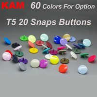 {60 Colors for option 10 Colors mixed  } KAM Brand 150 sets 20 T5 Glossy plastic Snap Button Fastener buttons for Diaper DIY