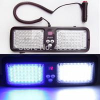 Super bright 86 pcs LED visor light emergency warning   lights car strobe light  WHITE BLUE