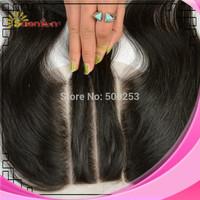 6A (4x4) Three Part Straight Human Brazilian Human Virgin Hair Closure Top Closure Sunnymay Lace Closure 3 Part Bleached Knots