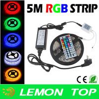 5M SMD 5050 RGB LED Strip Waterproof LED Flexible Ribbon Light + Remote + DC 12V 6A  Adapter For Garden KTV Bar Indoor Lighting