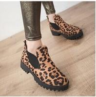 2014 leopard print vintage round toe platform thick heel boots woman's martin boots size 35-39