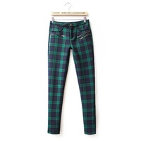 Women 2 Colors Checkers Pattern Elastic Skinny Pants Lady Casual Pencil Trousers, TW1081-E02