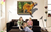 2013 New  Removable 3D window view tiger is coming Living room Decorative wall Stickers 70x100cm