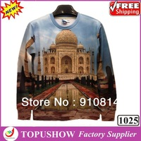 Wholesale  New 2014 Fashion Taj Mahal Sweatshirt 3D Funny Pullover Hoodies Loose Causal Spring Tops Couples Shirts Free Shipping