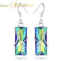 Fashion 2014 beautiful carving earrings silver jewelry mystic topaz drop earrings for women