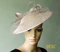 Dark pink Sinamay fascinator hat kentucky derby wedding party .diameter 35cm.FREE SHIPPING
