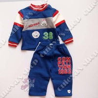 4pcs/lot (6-24M) Wholesale Baby Set Boys Outwear Winter Boys Clothes sets  Casual Sports Set 2 pieces Blue Free Shipping