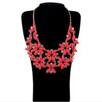 Fashion candy neon color petals flower clusters short design necklace pendant necklaces pendants best friend