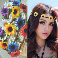Wholesale 20pcs Assorted Colors Daisy Flowers Headband Women's Braided Leather Headwrap Ladies Bohemian Hairband  Hair Ornaments