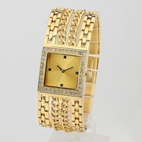 Women dress watch+Women 2013 Bracelets & Bangles Famous Brand Dress With rhinestone Chain Stainless Steel Watch Promotions