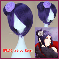 32cm short straight dark purple NARUTO Konan cosplay anime wigs wig synthetic heat temperature fiber
