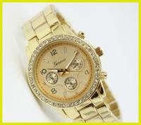 Luxury Gold Rose Gold Silver Black Steel Crystal Diamonds Quartz Wrist Watch for Girls Ladies Free Shipping