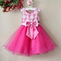Retail 1Pcs 2015 winter children christmas party dress lace flowers bow girls vest dresses baby girl clothes flower girl dresses