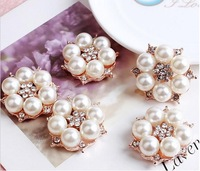FreeShipping Pearl Jewelry100pcs/lot 27MM metal rhinestone pearl cluster button wedding embellishment garment DIY hair accessory