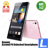 DHL Free shipping Huawei Ascend P6 Unlocked Smartphone 1.5GHz Quad Core K3V2E 6.18mm Thickness DDP Service Lsea Center EPIC OPEN