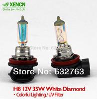 New XENCN H8 12V 35W White Diamond Light Colorful Car Light Bulbs Brand Halogen Replace Upgrade Fog Lamp Free Shipping 2pcs