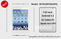 "3G 7.85"" Quad core M785 Tablet PC 1GB 8GB MTK8389 A7 Quad core 1.2G Android 4.2 OS 5MP Camera tablet Wifi BT GPS FM"