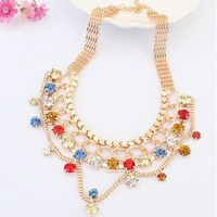 Luxury Crystal Gem Party Gold Plated Collar Choker Statement Necklaces & Pendants 2014 New Fashion Jewelry Women Wholesale N20