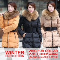 Free shipping winter warm large fur collar thick women's down jacket ladies winter duck down jacket coat women outwear 2 styles