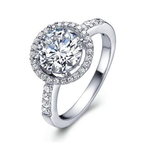 Luxury 1 Carat Moissanite Lab Grown Diamond Halo Ring 14K White Gold Engagement Ring Valentines Gift For Women Wedding Ring(China (Mainland))