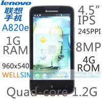 Original Lenovo A820E Mobile phone Multi language 4.5IPS 960x540 MSM8625Q Quad core 1.2G 1G RAM 4G ROM  Android 4.1 8MP