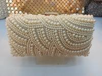 Free Shipping 2014 New Women Pearl Clutch Gold Chain Crystal Evening Bag Party Wedding Handbag Purse