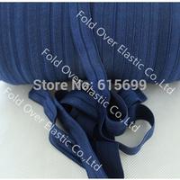 Solid Color Fold Over Elastic Ribbon- 100yards navy foe elastic