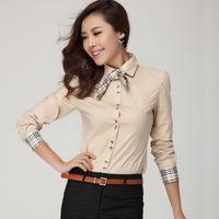 Fashion Women's Tops Plaid Bow Tie Slim shirt Office Lady Work Wear Blouse