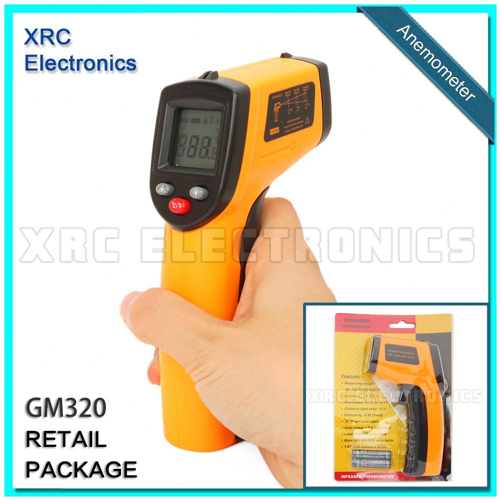 GM320 Non-Contact IR Infrared Digital Temperature Gun Thermometer -50~330C (-58~626F) Emissivity 0.95 12:1 Retail package(China (Mainland))