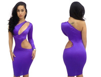 Sexy Women One shoulder Chest Hollow Bandage Clubwear Bodycon Party Evening Dress Long Sleeve 5 Colors  Mulheres Sexy Vestido