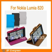 Side Opening PU Leather Case For Nokia Lumia 820 Wallet Book Case Cover Collapsible MC026