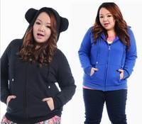 Fashion Big Size Warm Hoodies Cute Fat Women Winter Coat Fleece Sweater Hoody Overcoat Plus Size Clothing Outwear Winter ++4XL